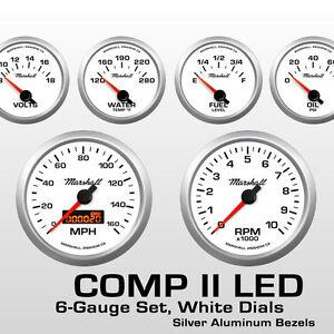 C2-6-Gauge-Set-White-Dials-Silver-Bezels-73-10-Ohm-Fuel-Level-2268