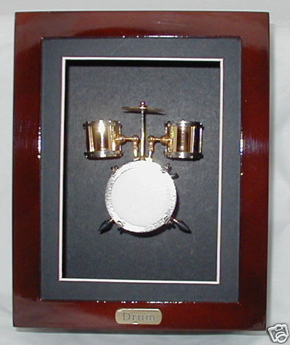"Shadow Box framed w// collectible miniature Bass Drum brass gold plated 8/"" x 6.4/"""