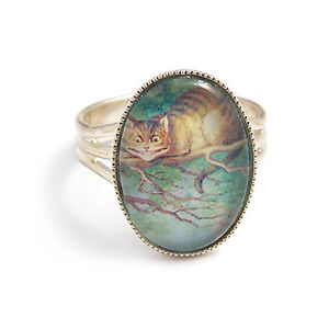 Alice-in-Wonderland-RING-Cheshire-cat-We-039-re-all-mad-here-mad-hatter-silver-tea
