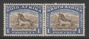 South-Africa-1939-1s-Brown-amp-Chalky-Blue-Horizontal-Pair-MNH-SG-62