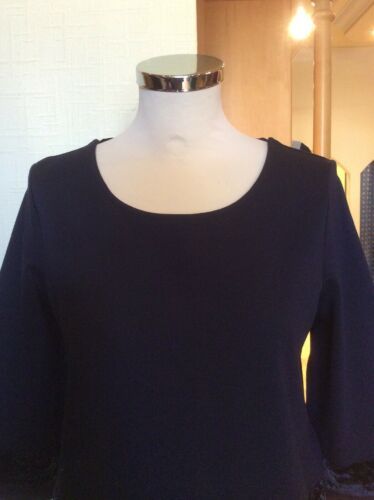 Bnwt Velvet Trim And Rrp Now £89 Size Feather Navy 18 £225 Riani Top xf8nwqtx0T