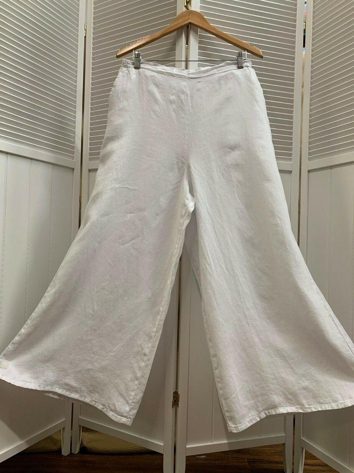 LP70 White Small NWT Match Point Linen Pants Wide Leg Waist Flax NEW