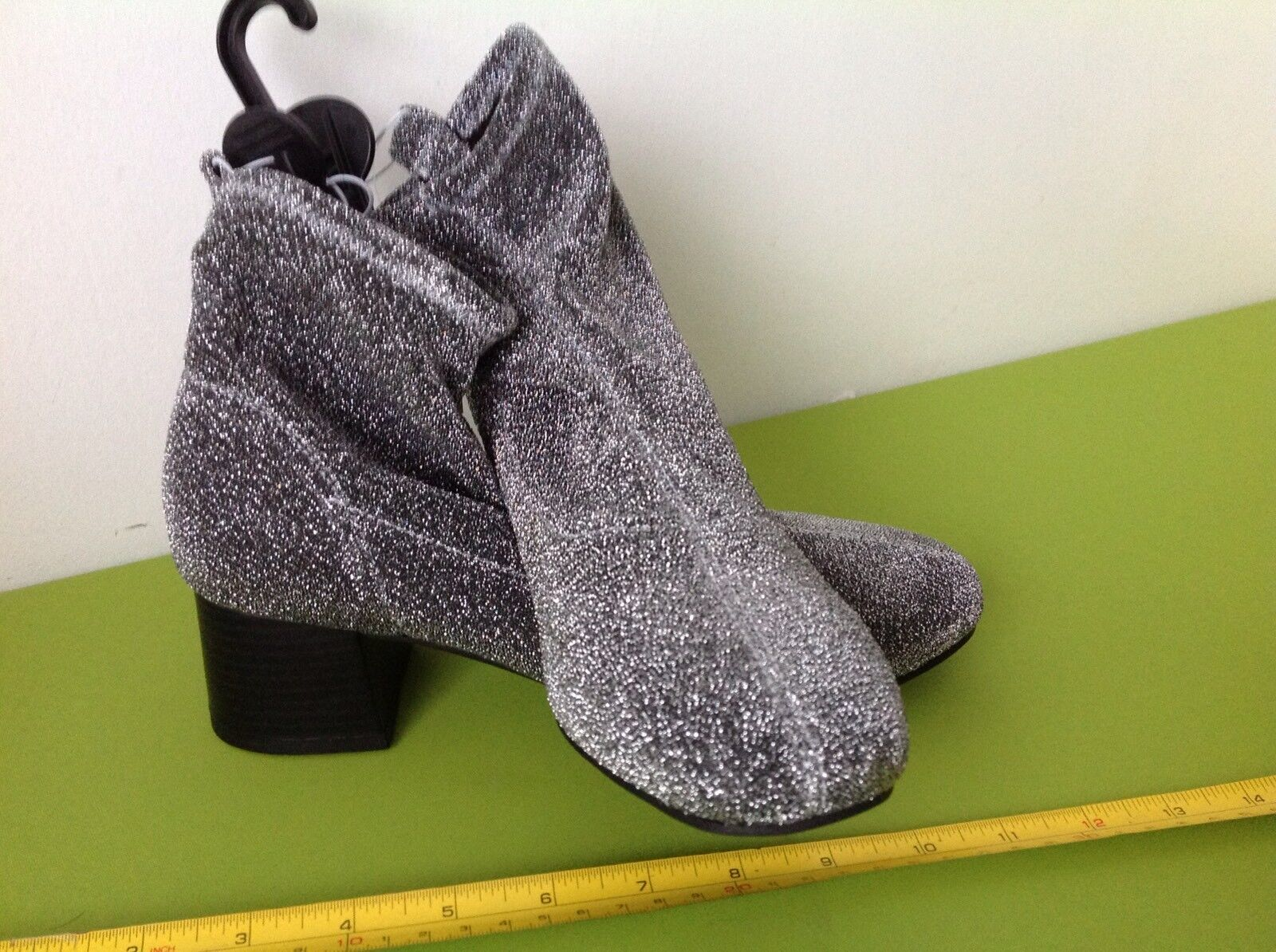 PRIMARK SPARKLY SILVER GREY LAME KINKY ANKLE BOOTS SHOES size 6 eu 39 BNWT new