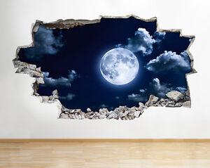 Estrellas de la luna dormitorio escena pegatina pared vinilo 3d habitación niños