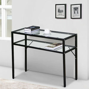 2 Tier Console Table Glass Side End Table Coffee Entry Hall Table w/ Shelf Black