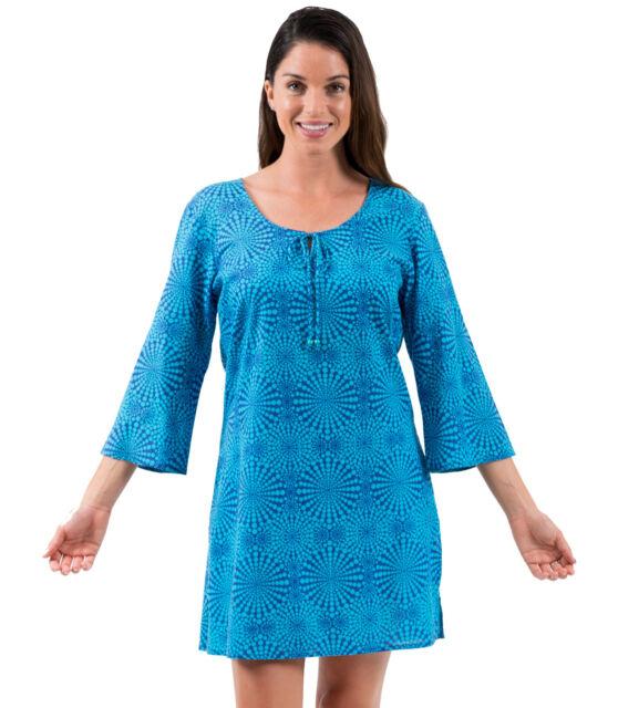 Cotton Kaftan Dress or beach cover up from Spirituelle -  Cosmic Aqua S-3XL