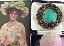 RARE Antique Art Nouveau Bohemian Czech Peking Glass Large Filigree Brooch Pin