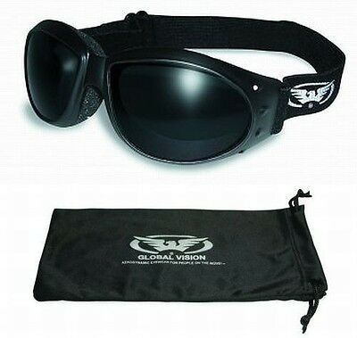 Super Dark Motorcycle ATV Riding Goggles Googles Daytime Padded Biker Riding New