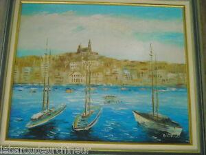 belle-huile-marine-mer-et-bateaux-signee-Armandi-sur-toile