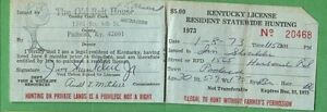 Kentucky 1973 resident statewide hunting license rw39 duck for Louisiana non resident fishing license