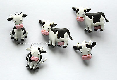 Dress It Up Buttons *MOOOVE IT* 5 Pieces Cows Dairy Farm Animals Craft Sewing