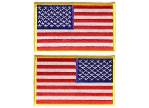"3821//22 4/"" x 2.5/"" AMERICAN FLAG YELLOW BORDER iron on patch Choice of Style"