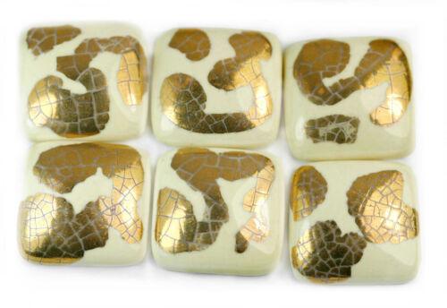 2x Unusual Cream Ceramic Square Cabochons HIGH QUALITY Flatback 20mm Gold Leaf