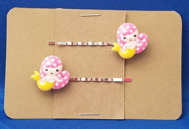 MERMAID with YELLOW TAIL Handmade Bobby PIn Hair clips - Set of 2