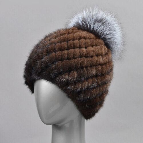 Echte gestrickte Nerzpelz Hüte Winter Warmer Damen Cap Vintage 3 Farben Stilvoll