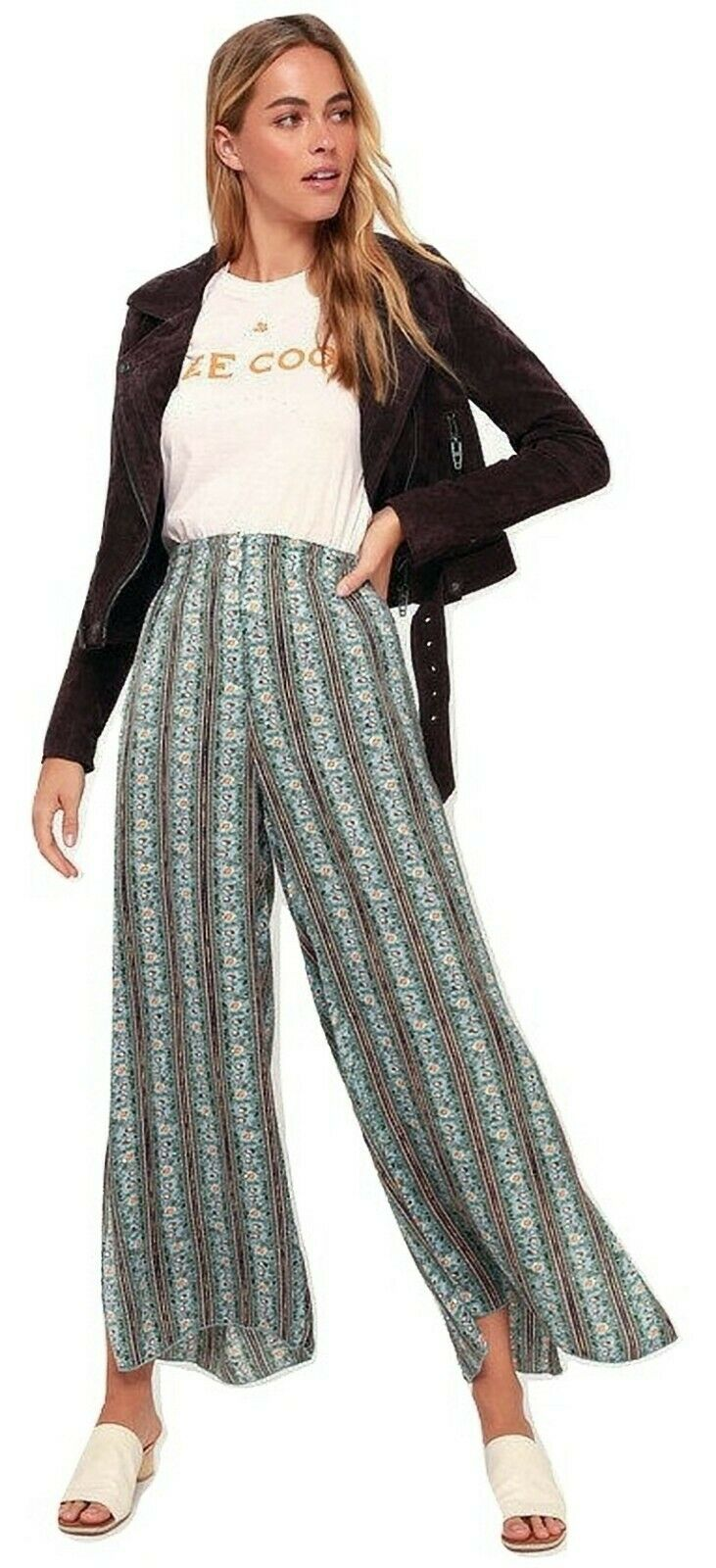 Free People Take Your Tie Off Printed Wide-Leg Pants XS