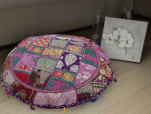 """18/"""" Indian Handmade Vintage Round Floor Patchwork Pillow Bohemian Cushion Cover"""