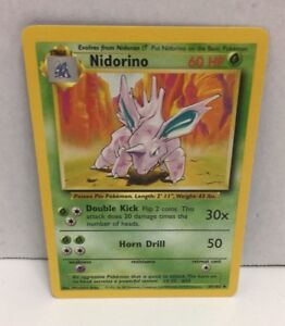 37//102 NM Nidorino 1st Edition Base Set Shadowless Uncommon Pokemon Card