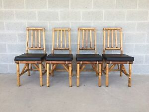 Fabulous Details About Vintage High Quality Bamboo Rattan Set Of 4 Side Chairs Dining Chairs Ocoug Best Dining Table And Chair Ideas Images Ocougorg