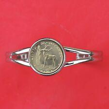 1970 Vatican 20 Lire BU Unc Coin Silver Plated Cuff Bracelet NEW - Red Deer