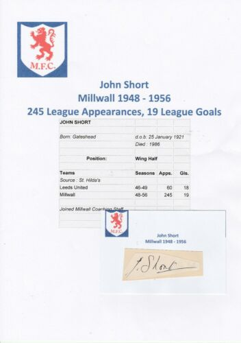 JOHN SHORT MILLWALL 19481956 RARE ORIGINAL HAND SIGNED CUTTINGCARD