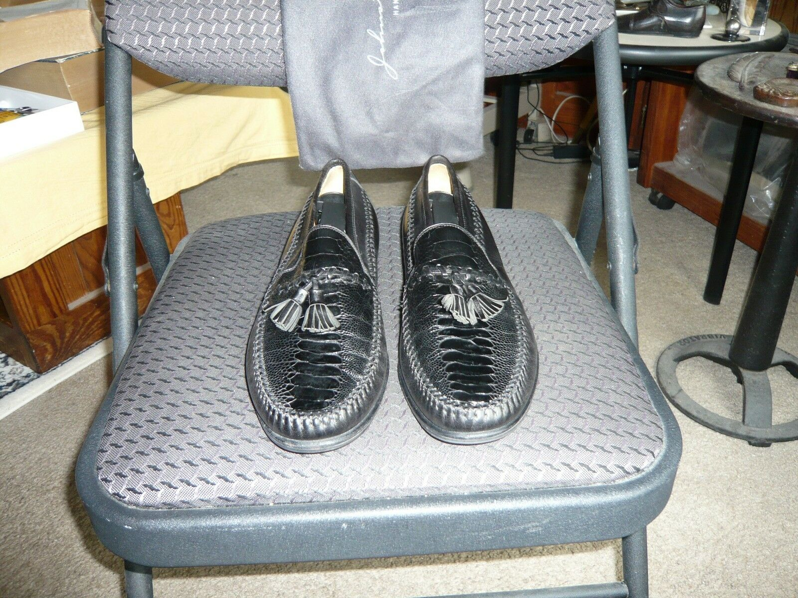 Johnston Murphy negro piel de becerro cocodrilo & Mocasín De Cuero, Tamaño 7.5, 8.5 de EE. UU.