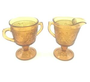 Vintage-Indiana-Amber-Tiara-Exclusive-Glass-Footed-Creamer-amp-Open-Sugar-Bowl-Set