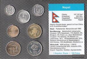 Nepal-Stgl-unzirkuliert-Kursmuenzen-1984-2000-10-Paisa-bis-10-Rupien