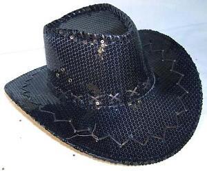 fe6e4f7b4eb 2 SEQUIN BLACK COWBOY HAT party supply western hats mens womens ...