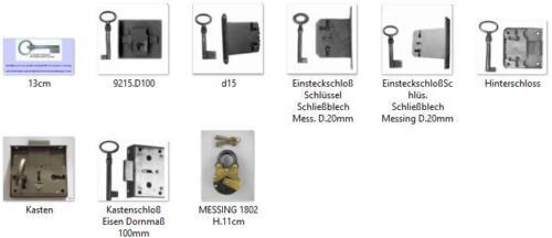 Einsteckschloß clés Schließblech restauration besoins d = 65 mm meubles serrures