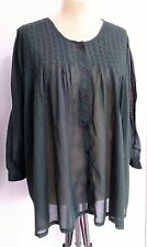 TUNIC TOP Forest Green Long Sleeved Hippy Size 14 16 18 Folk Beach Holiday KN66