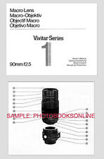 Vivitar Instruction Manual Series 1 90mm F2.5 Macro Lens: Classic First Model