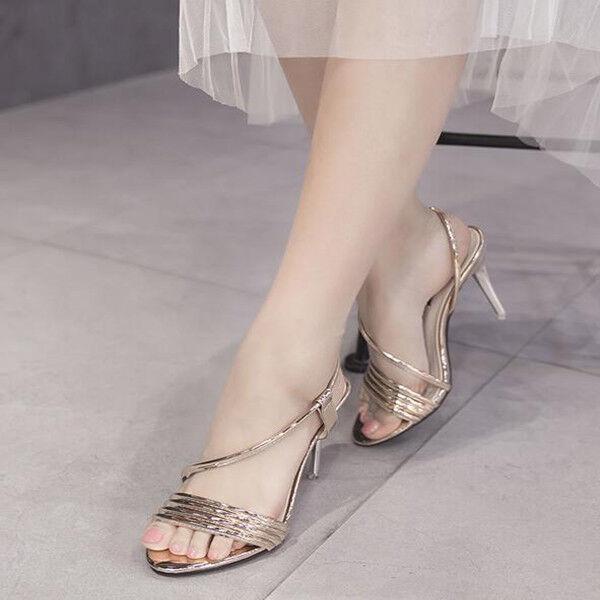 Sandali eleganti tacco stiletto 11 cm oro lucido simil pelle eleganti 9840