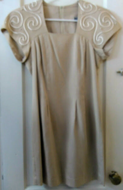 Vintage Jessica Howard Mitchell Rodbell Tan Lined Linen Embroidered Dress Size 4