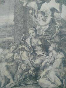 Gravure XVIIIème Le Corrège Surugue 1720 La Vertu Héroique estampe eau forte