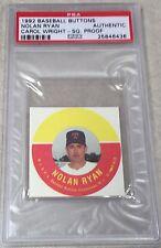 1992 Carol Wright Baseball Buttons Proof h/c Nolan Ryan PSA AUTHENTIC