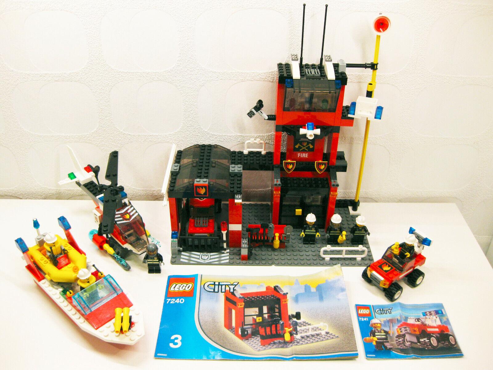 4xLego Feuerwehr Sets - 7238 + + + 7240 + 7241 + 6429   7xMinifiguren   Station 2005 113b77