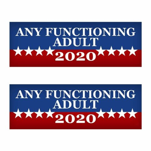 """2 PACK Any Functioning Adult 2020 Funny Bumper Sticker 3/"""" x 9/"""" Car Truck.. New"""