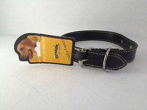 Soleil-Black-leather-Dog-Neck-Collar-With-Metal-Name-Tag