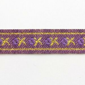 2-METRES-12mm-PURPLE-GOLD-PATTERNED-EMBROIDERED-RIBBON-TRIMMING-CRAFT-REB048
