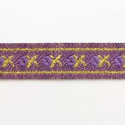 2 METRES 12mm PURPLE// GOLD PATTERNED EMBROIDERED RIBBON TRIMMING CRAFT REB048