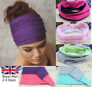 EXTRA-THICK-WIDE-REVERSIBLE-STRETCH-HEAD-WRAP-YOGA-HAIR-HEADBAND-LADIES-GIRLS