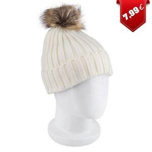 grande sélection haute qualité beaucoup à la mode Détails sur Bonnet Hiver Femme avec Pompon Blanc