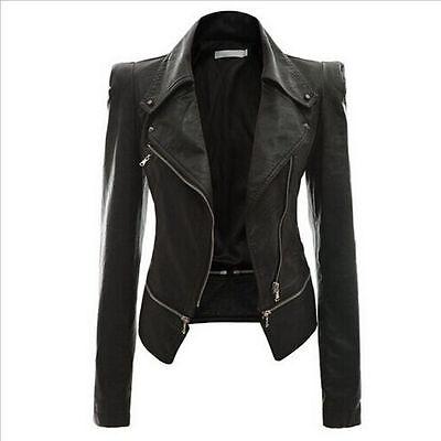 2016 New Womens- Slim- Biker Motorcycle Jacket Coat PU Soft Leather Zipper Black