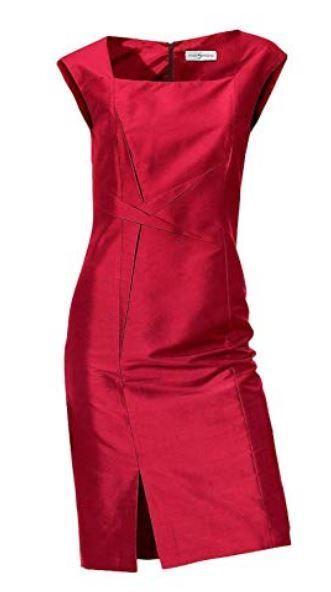 Seidenkleid rot 40 SINGH S. MADAN Heine Seide Wildseide Kleid ELEGANT NP