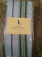 Pottery Barn Kids Chase Striped Crib Sheet Blue Green Brown