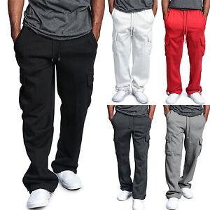 Casual-Men-Loose-Cargo-Pants-Pocket-Gym-Workout-Fitness-Sport-Trouser-Sweatpants