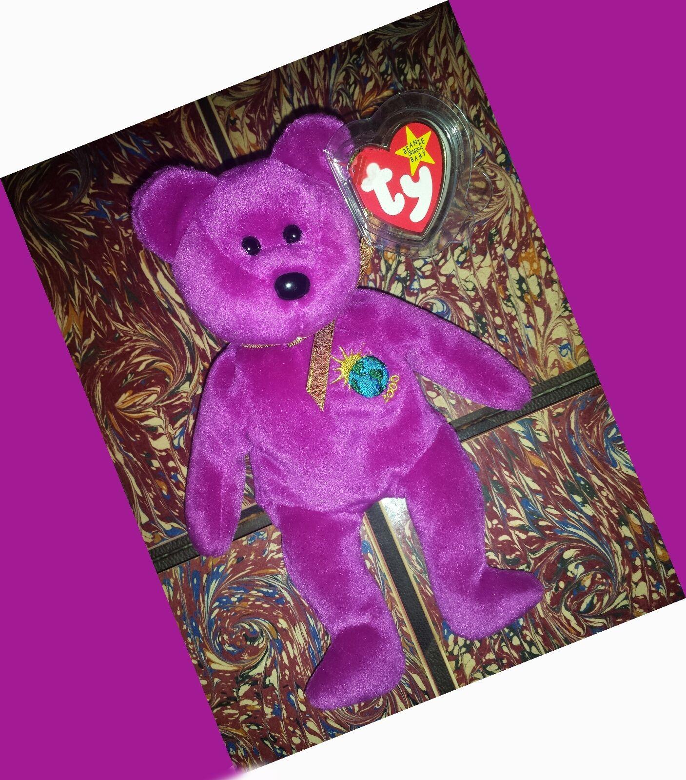 RARE MILLENIUM TY BEANIE BEANIE BEANIE BABY BEAR 1999 PE RETIRED MILLENNIUM GASPORT NO STAMP 456f7e