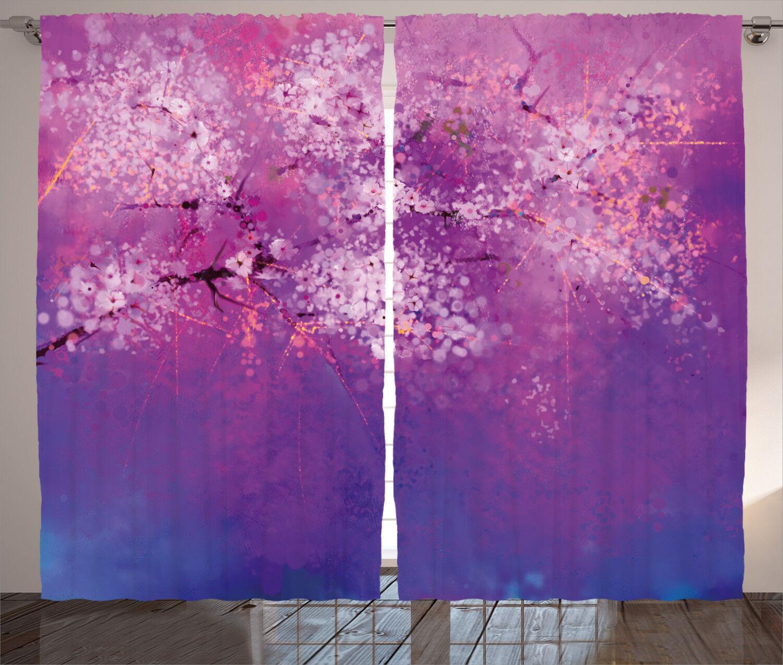 Cortinas Púrpura japonés Cherry Blossom Ventana Cortinas 2 pulgadas Panel Set 108x84