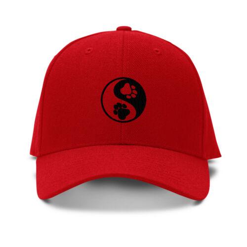 Yin Yang Dog Paw Black Embroidery Embroidered Adjustable Hat Baseball Cap